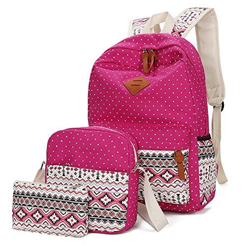 Viniolve Canvas Dot Backpack Cute Lightweight Bookbag School Shoulder Bags for (Girl Graduate)