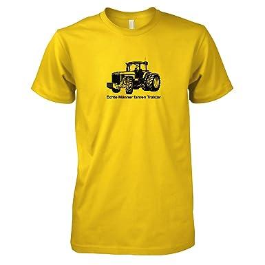 TEXLAB - Echte Männer fahren Traktor - Herren T-Shirt, Größe S, gelb