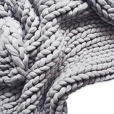50x60in Chunky Knit Blanket, Arm Knit Blanket,Merino Wool Blanket,Super Chunky Throw Blanket,Handmad Extreme Knitting Crochet Blanket for Family (Light Grey)