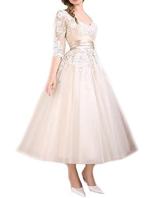 Favors Dress Women's Half Sleeves Lace Cocktail Tea Length Formal Dresses Light Champagne 14