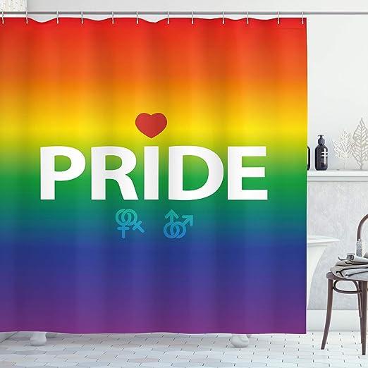 ABAKUHAUS Orgullo Cortina de Baño, Abstracto Vibrante Derechos Gay ...