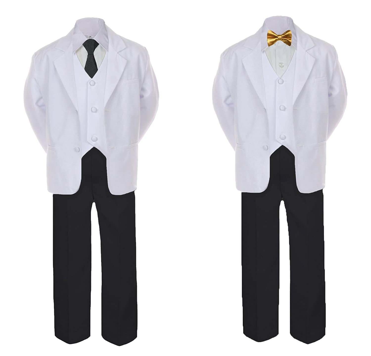 Unotux 5-7pc Formal Black White Suit Set Gold Bow Long Tie Vest Boy Baby Sm-20 Teen