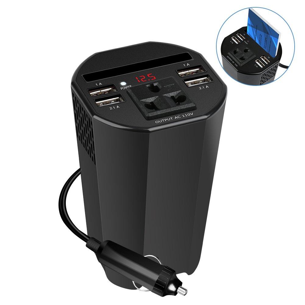 Uvistare Inversor de Corriente para Coche 150W, de 12V a 220V con 4 USB Puertos, 1 AC Enchufe, Encendedor de Cigarrillos, Pantalla Digital (Negro)
