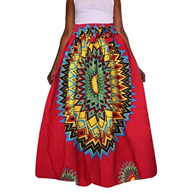 JYS Apparel Summer Women's Dashiki Print Chiffon High Waist Party Boho Ankara Maxi Fashion Style Long Skirt Plus Size