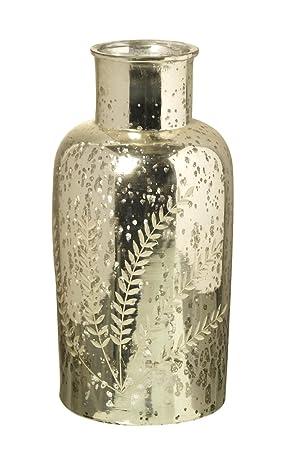 Plata/Oro Isabel de vidrio decorativo Botella – 32 cm x 15 cm