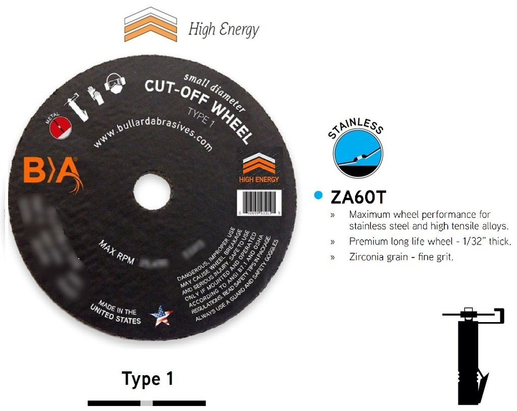 (50) Bullard 93403 (4 x 1/32) ZA60T Type 1 Small Diameter Cut-Off Wheels for Straight Shaft Air/Electric Tools. Professional Grade. 3/8'' Arbor. 19000 Rpm. For stainless steel and high tensile alloys.