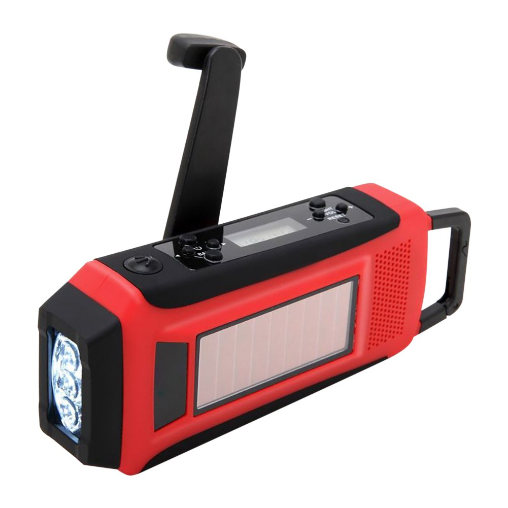 Per Solar Hand-Cranked Charging Radio AM / FM / NOAA With LED Flashlight USB Plug For Bivouac Exploring