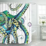 Bathroom Shower Curtain Colorful Fashion Octopus Shower Curtains Durable Fabric Bath Curtain Mildew Resistant Waterproof Bathroom Curtain with 12 Hooks (Colorful Fashion Octopus, 70'' L × 69'' W)