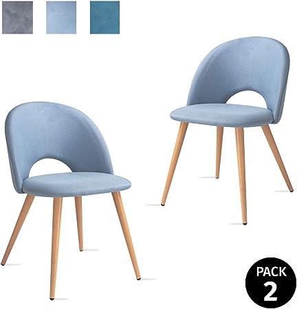Mc Haus LUNA Lot de 2 chaises salle à manger style nordique fauteuil salon siège rembourré en tissu couleur bleu océan et pieds en métal à effet