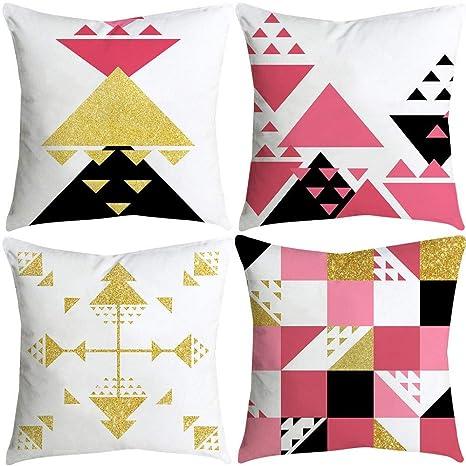 VJGOAL impresión de Moda hogar Decorativo Suave sofá cómodo Cojín Cuadrado Funda de Almohada 4 Piezas Conjunto(45_x_45_cm,Multicolor6)