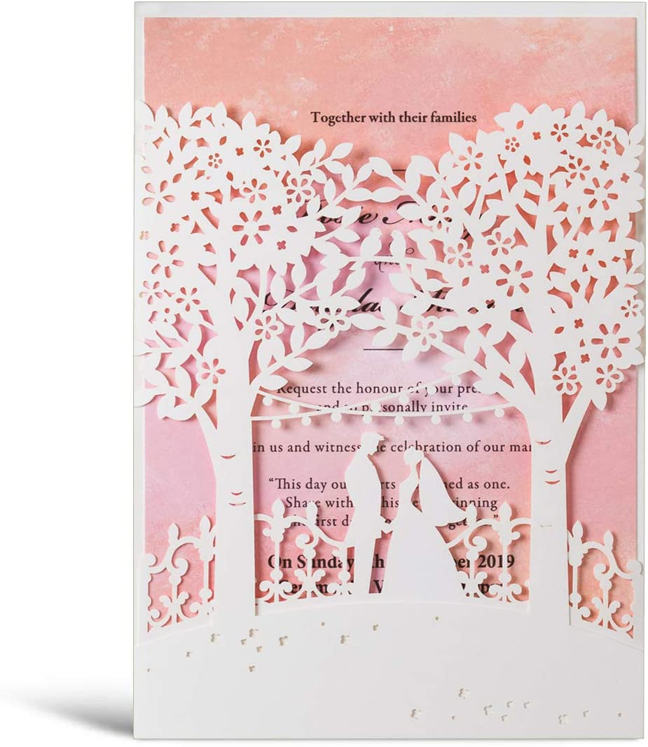 Wishmade White Laser Cut Trees Wedding Invitations Card Pink Insert Bride And Groom Elegant Engagement Card Invitation Cards Pack Of 50pcs