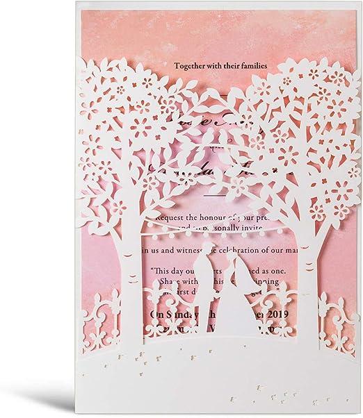 Wishmade - 20 tarjetas de invitación para boda con diseño de ...