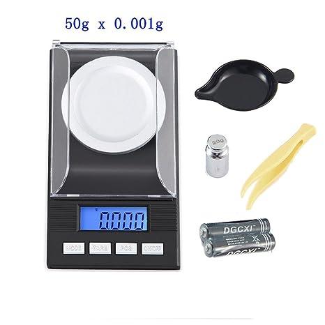 Digital miligramo báscula 50 G x 0,001 g, Kobwa recargar Digital escala de peso para