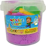 JN Toys Magic Kinetic Heavy Quality Very Soft Moving Sand with Big Moulds Purple (300 gr, 6 Moulds)