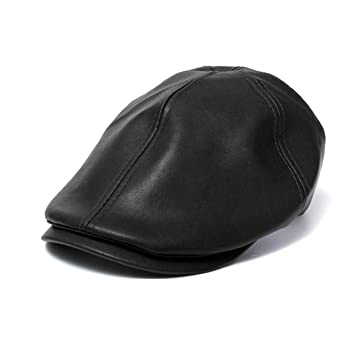 Vovomay New Year's Gift, Mens Women Vintage Leather Beret Cap Peaked Hat Newsboy Sunscreen (Black)