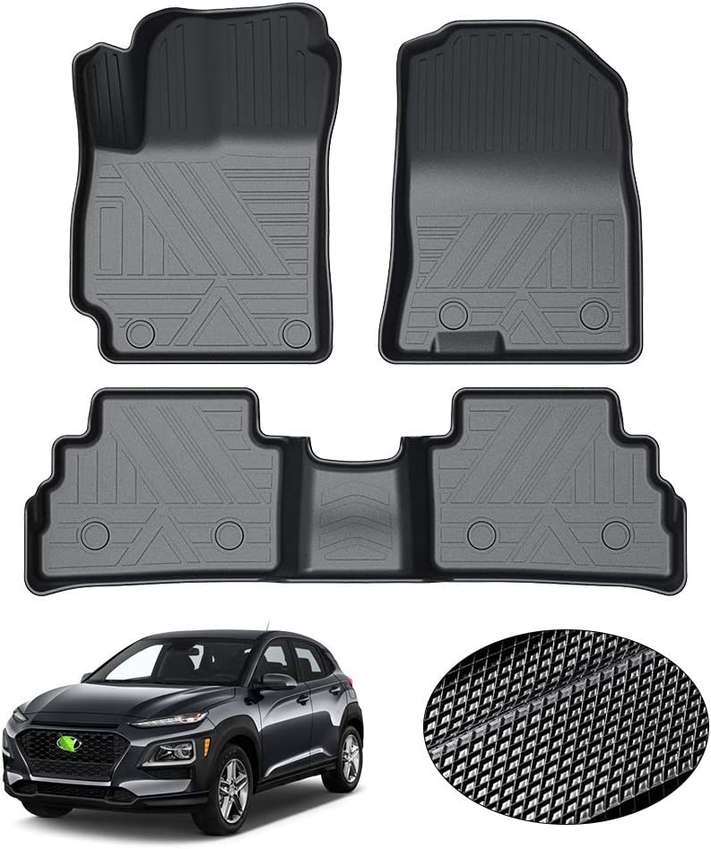 Odorless Floor Liner for 2020 Kona 1st /& 2nd Row All Weather KUST 2020 Upgrade Non-Slips Floor Mats for 2018-2021 Hyundai Kona No Electric Models