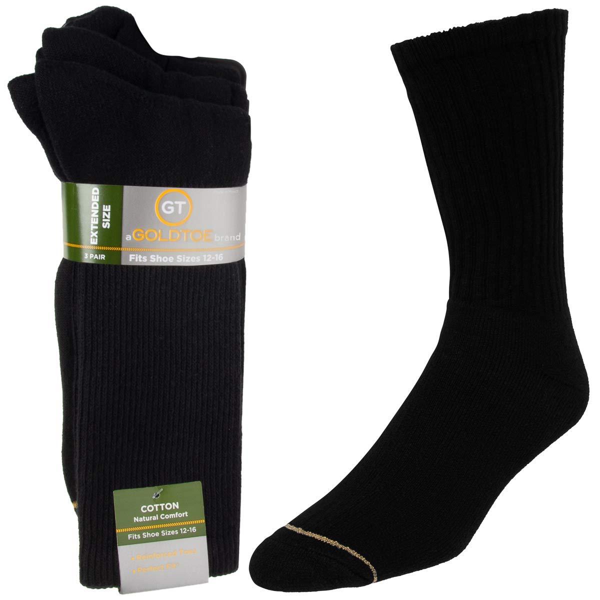 37ac7abdd4b78 Gold Toe Socks (3 Pairs) Mens Black Socks Moisture Wicking Socks XL, Shoe  Size 12-16 Extended Sizes at Amazon Men's Clothing store