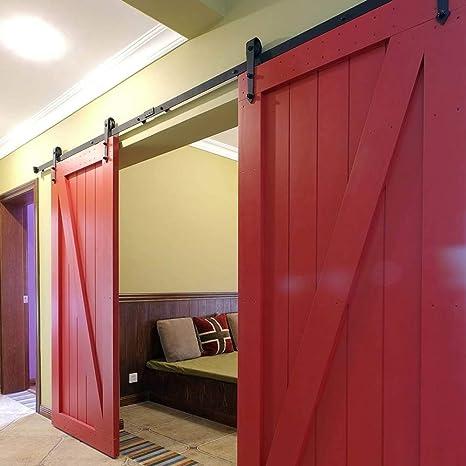 Rodillo para colgador de puerta, color negro, de madera, corredera, raíl deslizante de acero, raíl antiguo (tipo A 6.6ft): Amazon.es: Bricolaje y herramientas