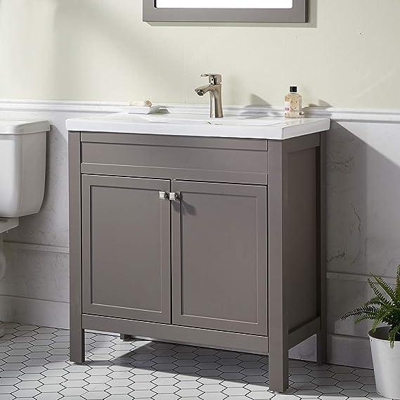 600 mm mueble de madera con 2 puertas batientes ATUM HOME Mueble de tocador de pie con fregadero gran espacio de almacenamiento