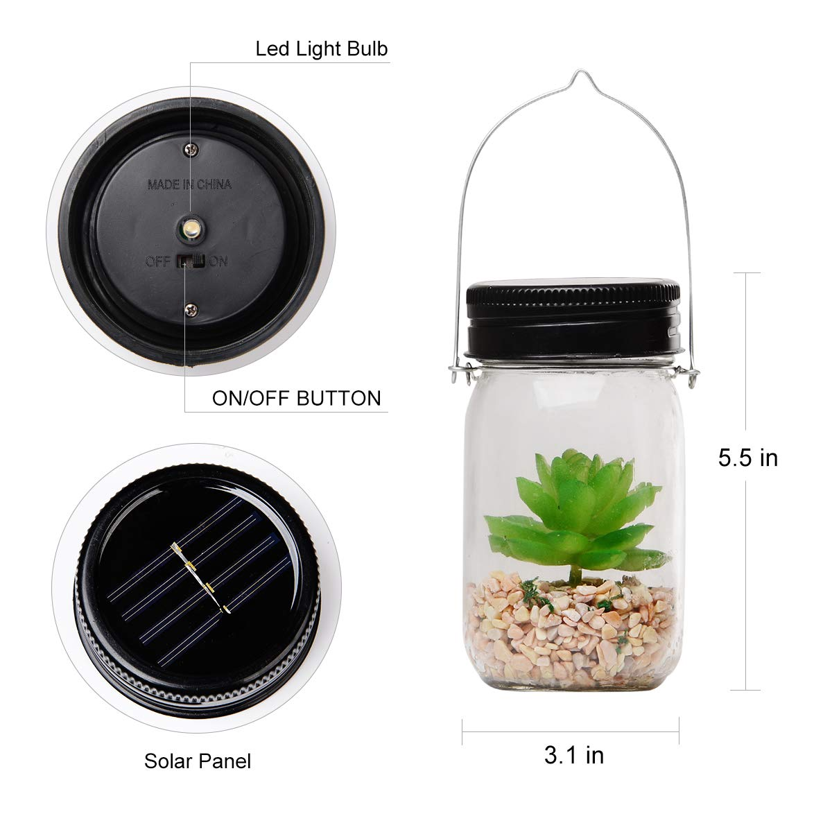 Solar Powered Lantern Mason Jar Solar Lights Artificial Succulent Hanging Glass Terrarium DIY Kit Glass Planter Solar LED For Outdoor Garden | Night Lamp For Bedroom Nursery Bathroom
