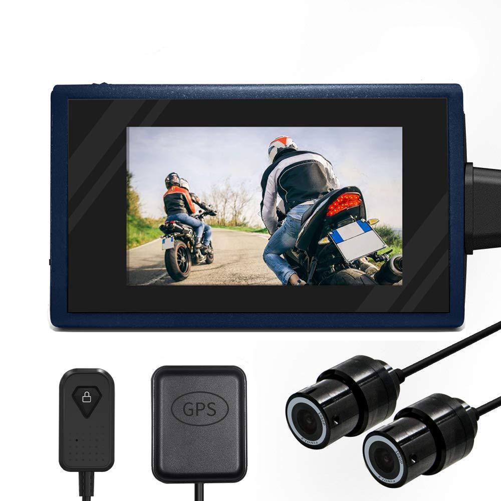 Moto guida registratore impermeabile Dual Lens 1080p Dash Cam DVR sport Action Camera video Rocording con 6, 9 cm schermo LCD 155 gradi di angolo WiFi & GPS Support 256 g max 9cm schermo LCD 155gradi di angolo WiFi & GPS Support 256g m