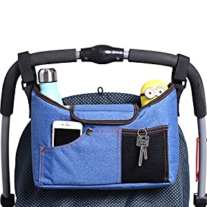 AMZNEVO Best Universal Baby Jogger Stroller Organizer Bag / Diaper Bag with Cup Holders and Shoulder Strap. Extra Storage Space for Organize the Baby Accessories and Your Phones.