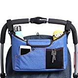 AMZNEVO Best Universal Baby Jogger Stroller Organizer Bag / Diaper Bag with Shoulder Strap and Two Deep Cup Holders. Extra Storage Space for Organize the Baby Accessories and Your Phones. (BLUE)