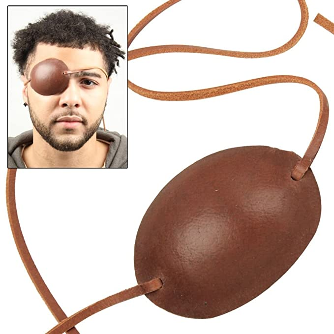 Deluxe Adult Costumes - Pirate of the Caribbean captain costume brown leather eye patch