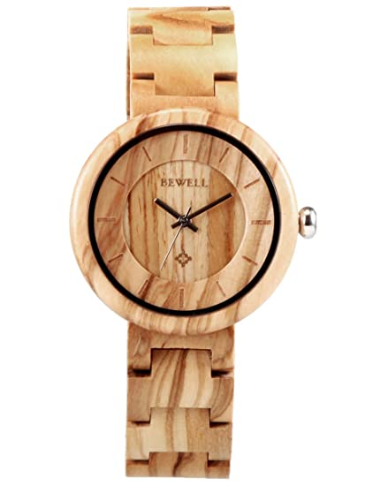 Alienwork Reloj Unisex Relojes Mujer Hombre Madera Amarillo Analógicos Cuarzo Impermeable Madera Natural: Amazon.es: Relojes