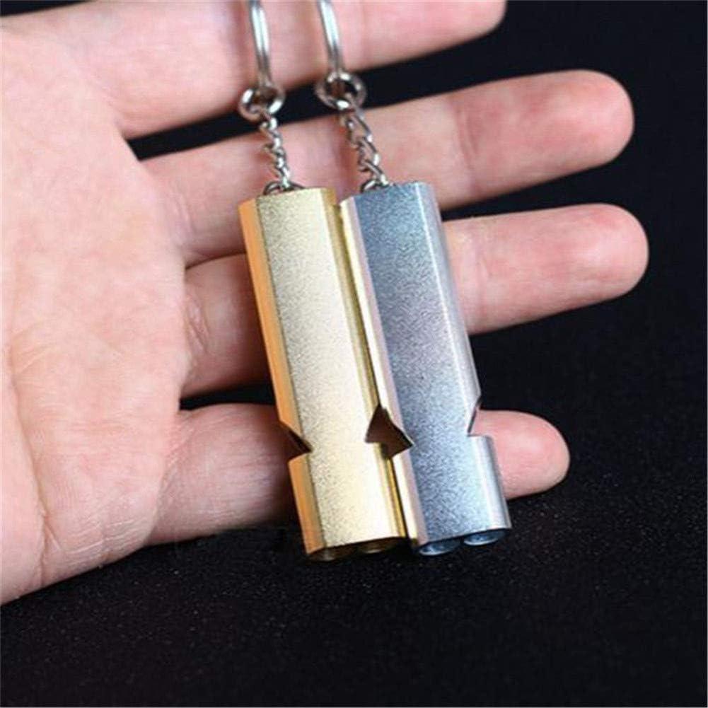 ACHICOO Outil extérieur Keychain de sifflet de Survie de Secours en Aluminium d'alliage de Double fréquence Silver