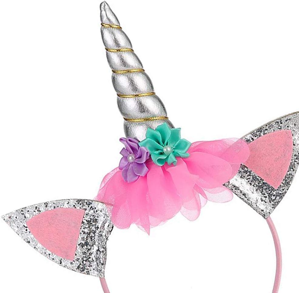 2 Pezzi Unicorno Cerchietto Ouinne Fasci di Fiori di Corna di Unicorno Copricapo da Principessa Photo Puntelli Cosplay e Feste in Costume