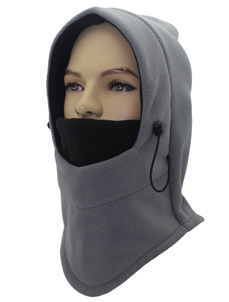 Winter Warm Windproof Balaclava Outdoor Sports Ski & Snowboard Face Mask/Unisex Double Layers Thicken Full Face Neck Hood Gray 2