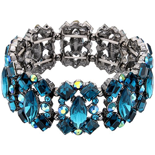 EVER FAITH Women's Crystal Vintage Style Elegant Bridal Elastic Stretch Bracelet Sea Blue Black-Tone (Elegant Bridal Bracelet)