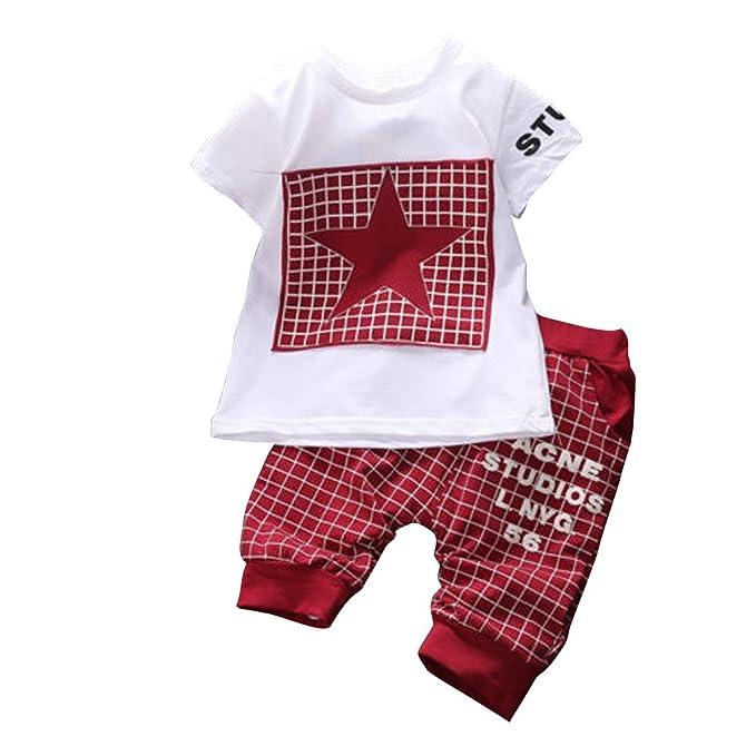 522e25e0e6d9d WangsAura Baby Boy Kid 2 Piece STAR Sportswear Clothes T-shirt Top Short  Pants Outfit Set: Amazon.co.uk: Clothing