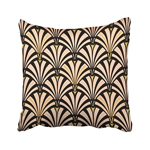 Pakaku Throw Pillows Covers for Couch/Bed 16 x 16 inch,Art Deco Fan Pattern Peach Home Sofa Cushion Cover Pillowcase Gift Decorative Hidden Zipper Design Cotton and Polyester Blended Soft Touch ()