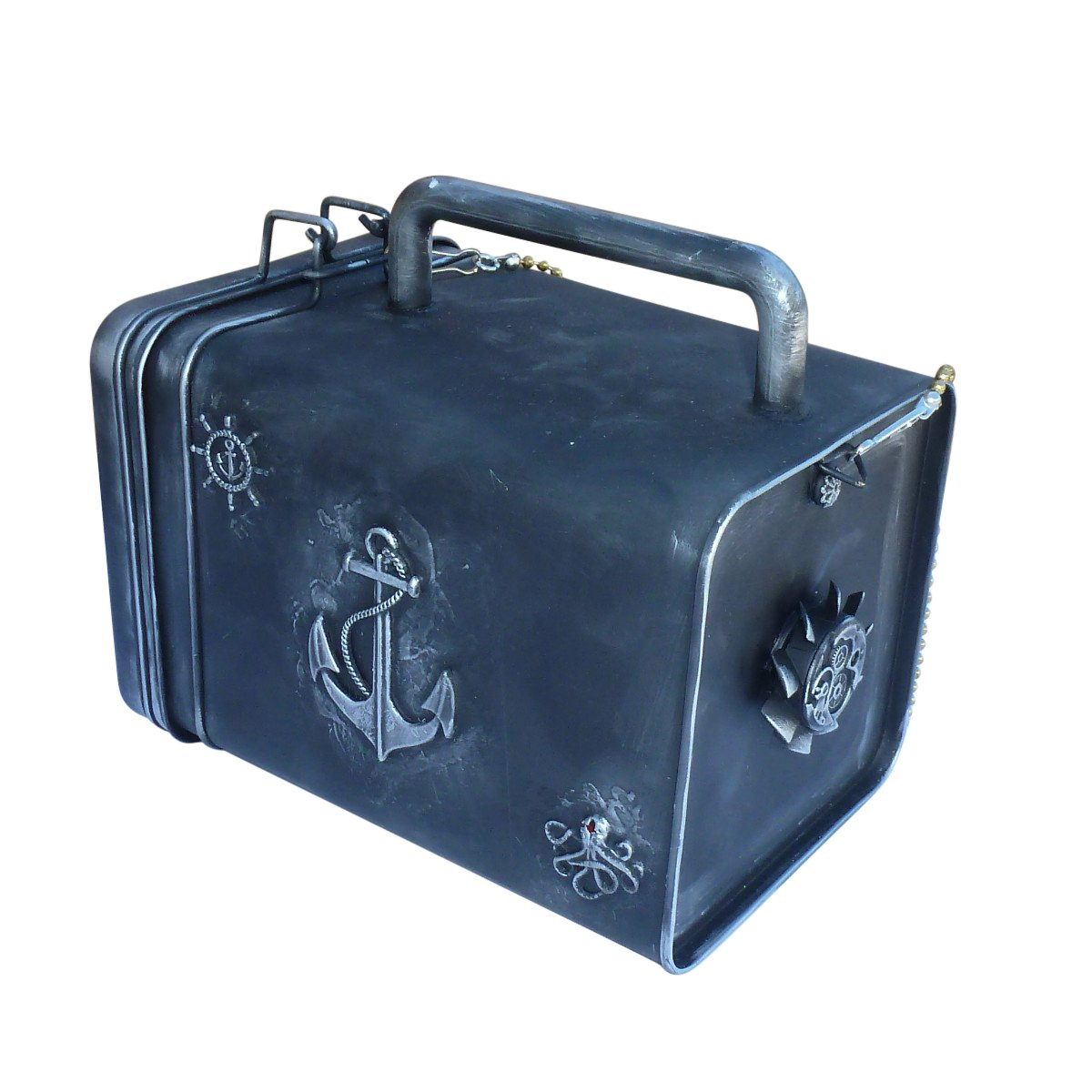 SteAMPunk travel Nautical Steampunk purse BOX handmade by OldJunkyardBoutique (Image #4)