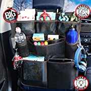 B-Comfort Car Back Seat Organizers-Excellent Travel Accessory for Kids-Multi Pockets Safe and Sturdy Toddlers Toy Storage Bag-Kick Mat-Auto Backseat Protector-Eco Friendly Materials