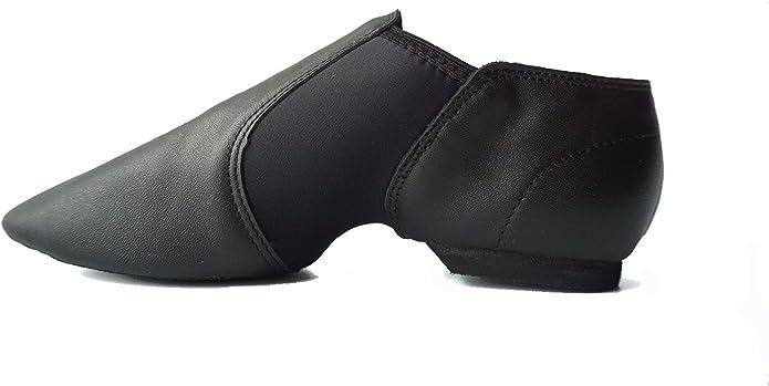 Gr DANCE YOU 1306 Jazzschuhe Sportschuhe latein Tanzschuhe Sneaker aus Leder mit geteilter Sohle fur Damen und Herren Schwarz EU 38=250mm=9.84 inch=UK 5