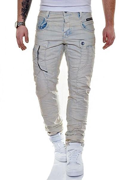 24157413f9 D R Fashion Jeans de Carga Cipo   Baxx para Hombre Mezclilla Lavado Beige  Azul Claro 32L 34L  Amazon.es  Ropa y accesorios