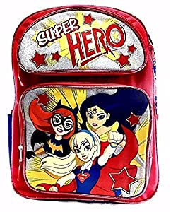 """New DC Super Hero Girls 16"""" Large School Backpack-Red"""