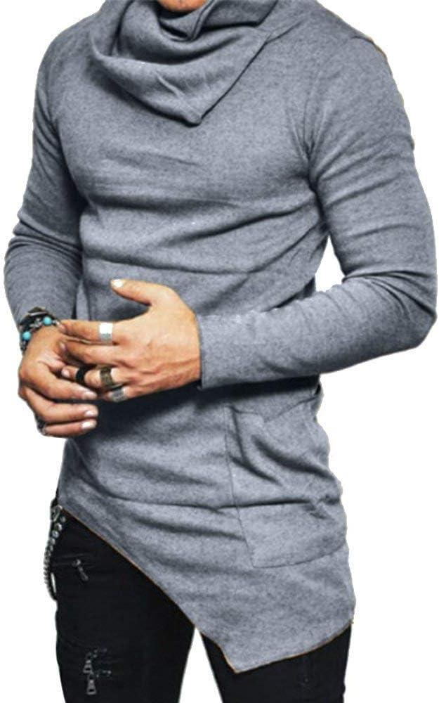 Sudadera para Hombres Jersey De Cuello Camisa Slim De Corte Alto Esencial Camisa para Niños Otoño De Manga Larga Tops De Color Sólido Tops (Color : Grau, Size : M): Amazon.es: Ropa