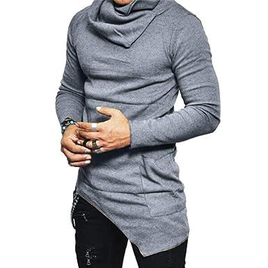 Sudadera para Hombres Jersey De Cuello Alto Camisa De Corte Slim Modernas Camisa para Niños Otoño De Manga Larga Tops De Color Sólido Tops: Amazon.es: Ropa ...