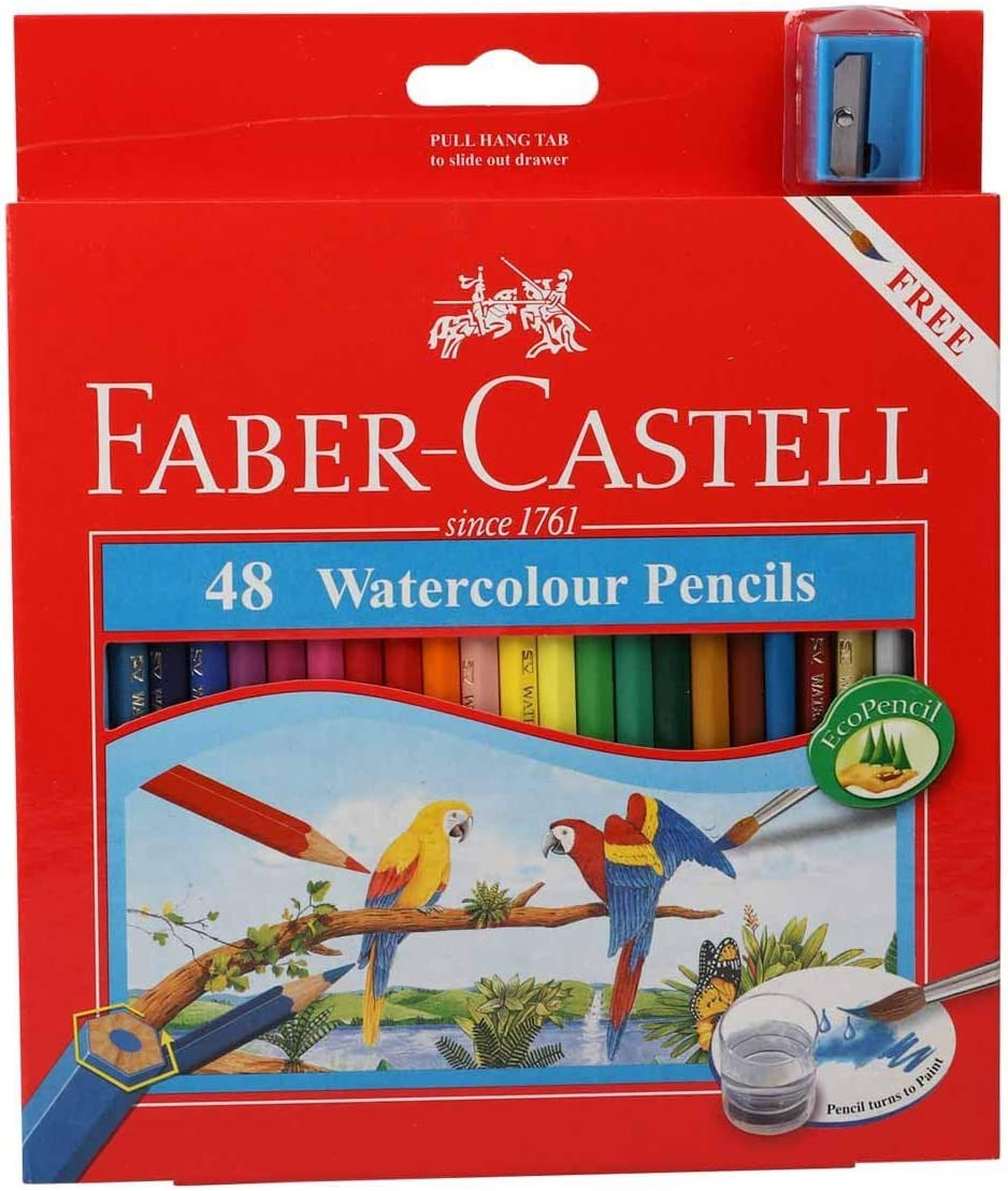 faber castell watercolor pencils with sharpener and brush 48 watercolored pencils set