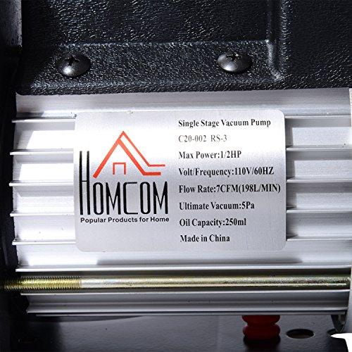 HomCom Single Stage 7 CFM Rotary Vane 1/2 HP HVAC Refrigerant Vacuum Pump by HOMCOM (Image #5)