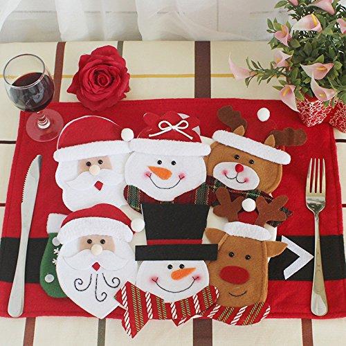 sudook 6 pcs Navidad decoración, cocina cubiertos traje cubiertos titulares cuchillo tenedor, adornos de Navidad para el hogar, para Decor fundas para ...