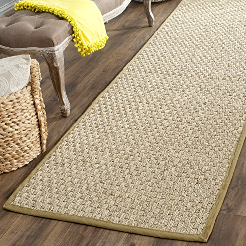 Safavieh Natural Fiber Collection NF114G Basketweave Natural and Olive Summer Seagrass Area Rug (2'6