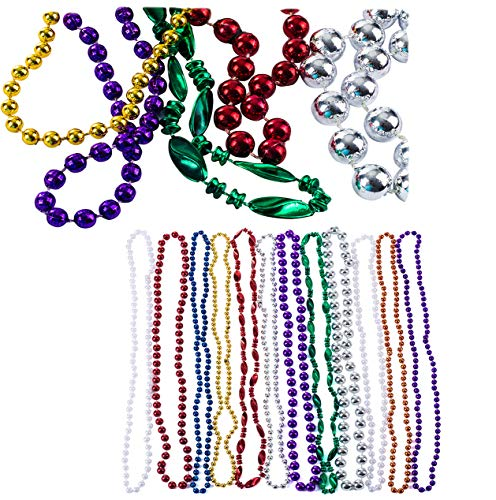 Mardi Gras Beads - Costume Jewelry - Mardi Gras Costume - Bulk Beaded Necklaces - by Funny Party Hats