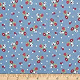 Anne of Green Gables Blossoms Blue Fabric By The Yard