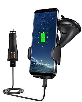 iDudu QI Cargador Inalámbrico Movil de Coche Soporte para Samsung Galaxy S7/S7 Edge/S6 Edge Plus, Nota 5 y todos los dispositivos habilitados Qi