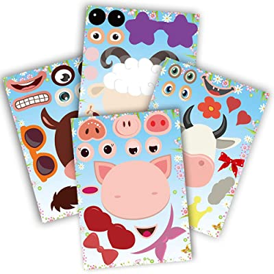 partyGO 24pcs Make A Farm Animal Stickers Sheets, Kids Farm Themed Birthday Party Favors Supplies, Yard Sale Stickers For Zoo Animal Party Supplies, Stick Pigs Horses For Kids: Toys & Games